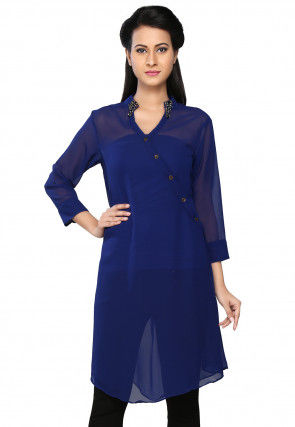 Royal Blue Faux Georgette Readymade Tunic