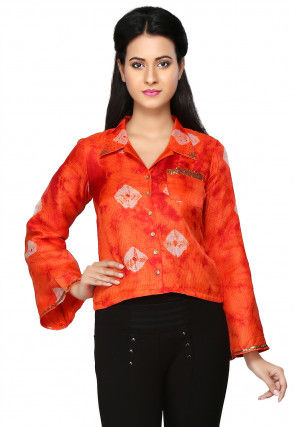 Bandhani Printed Kota Silk Top in Orange
