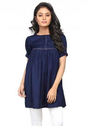 Plain Rayon Flared Tunic in Navy Blue