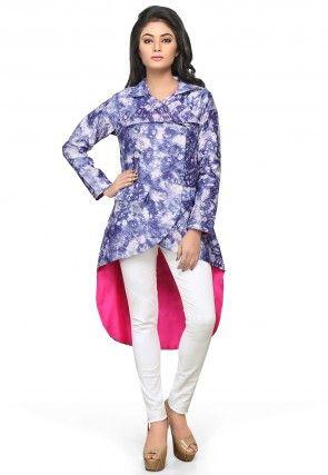 Asymmetric Chanderi Silk Jacket in Blue and White