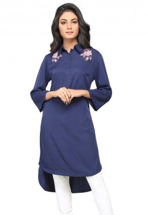 Embroidered Crepe High Low Tunic in Dark Blue