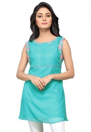 Embroidered Georgette Tunic in Turquoise