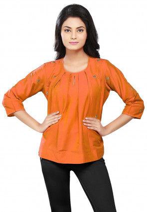 Embroidered Cotton Silk Top in Orange