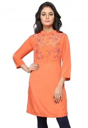 Embroidered Crepe Tunic in Light Rust