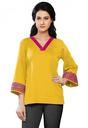 Plain Crepe Top in Yellow