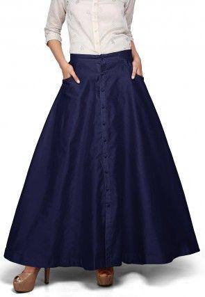 Plain Dupion Silk Long Skirt in Navy Blue