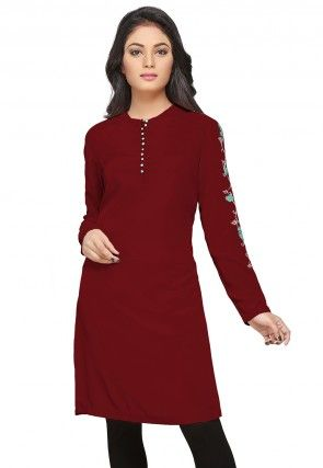 Embroidered Crepe Tunic in Maroon