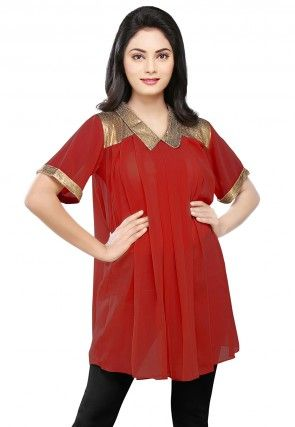 Sequined Georgette Tunic in Maroon