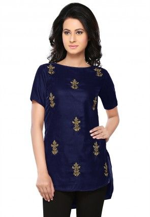 Bullion Velvet Tunic in Navy Blue