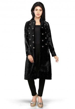 Velvet Long Jacket in Black
