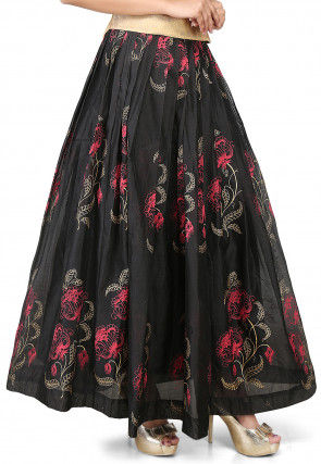 Printed Chanderi Silk Long Skirt in Black