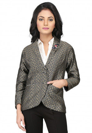 Woven Brocade Jacket in Beige and Navy Blue