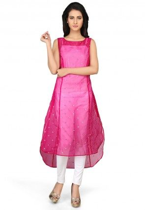 Embroidered Chanderi Long Kurta in Fuchsia