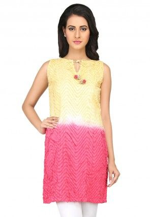 Plain Cotton Kurti in Yellow and Pink