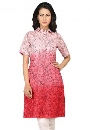 Embroidered Cotton Tunic in Shaded Red
