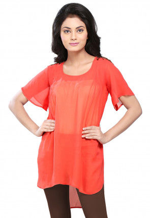 Plain Georgette Asymmetric Tunic in Coral