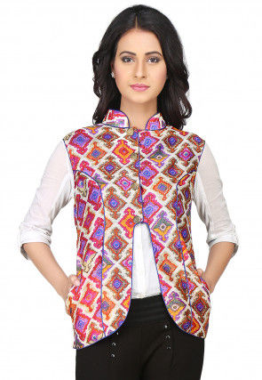 Printed Raw Silk Jacket in Multicolor