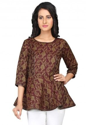 Woven Cotton Jacquard Flared Top in Maroon
