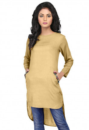 Plain Rayon Asymmetric Tunic in Beige