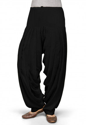 Plain Rayon Patiala in Black