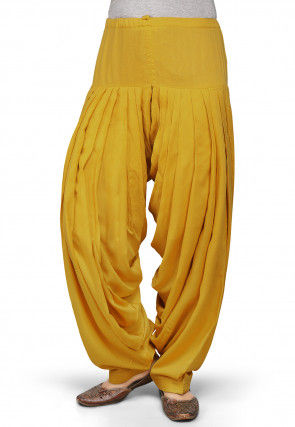Plain Rayon Patiala in Light Mustard