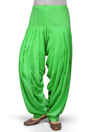 Plain Rayon Patiala in Green