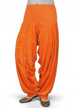 Plain Rayon Patiala in Orange