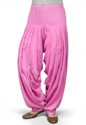 Plain Rayon Patiala in Pink
