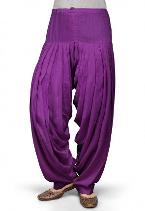 Plain Rayon Patiala in Violet