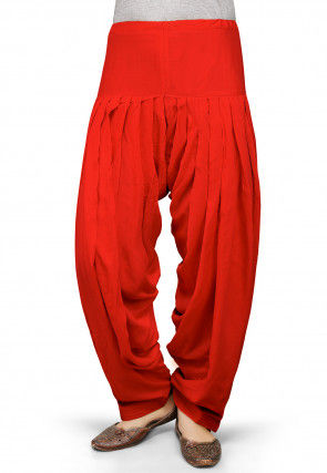 Plain Rayon Patiala in Red