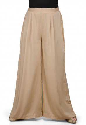 Plain Rayon Palazzo in Beige