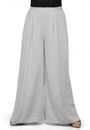 Plain Rayon Palazzo in Light Grey