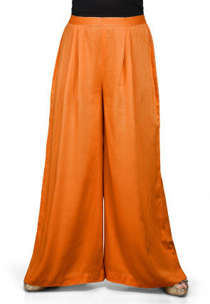 Plain Rayon Palazzo in Orange