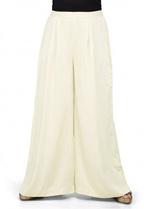 Plain Rayon Palazzo in Off White
