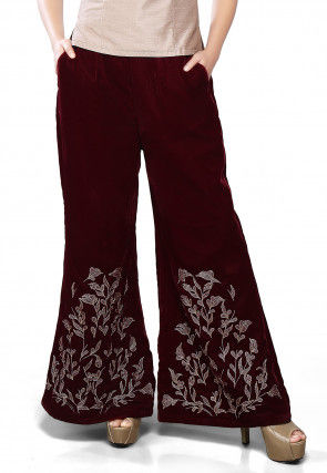 Embroidered Velvet Palazzo in Maroon