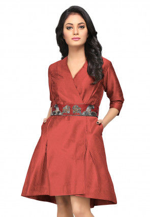 Embroidered Raw Silk Dress in Brick Red