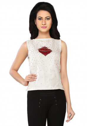 Embroidered Raw Silk Top in Cream