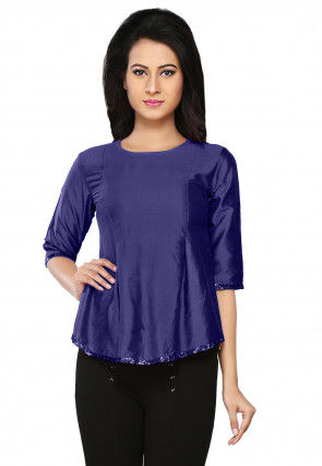 Embroidered Cotton Silk Top in Dark Blue