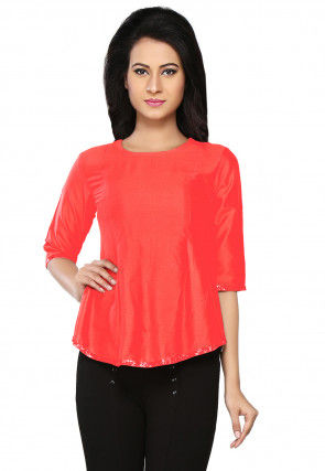 Embroidered Cotton Silk Top in Coral