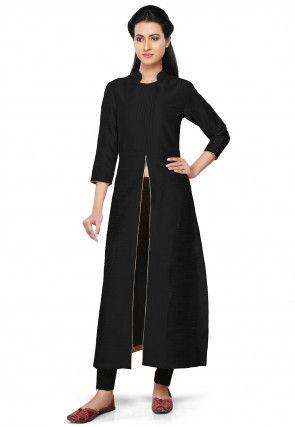 Plain Art Silk Kurta in Black
