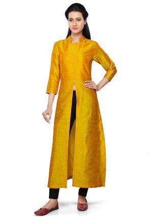 Plain Art Silk Kurta in Yellow