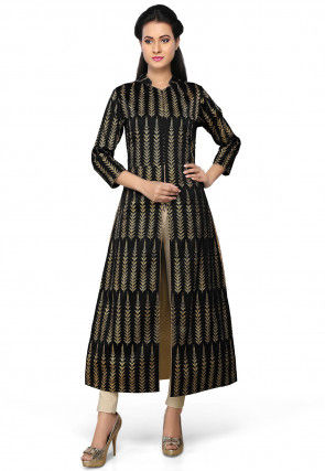 Printed Art Silk Kurta in Black
