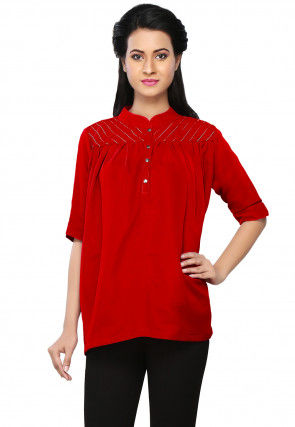 Embroidered Georgette Top in Red