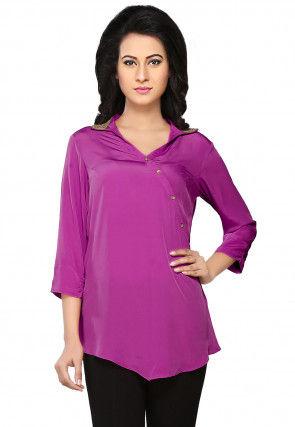 Plain Crepe Top in Purple