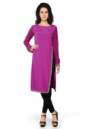 Embroidered Crepe Tunic in Purple