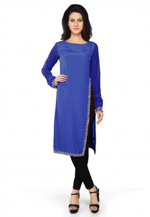 Embroidered Crepe Tunic in Royal Blue