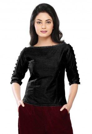 Dupion Silk Top in Black
