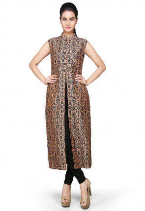 Printed Art Chanderi Silk Long Kurta In Peach