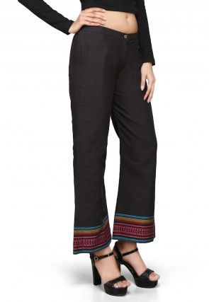 Woven Cotton Pant In Black