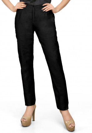 Cotton Silk Straight Pant in Black